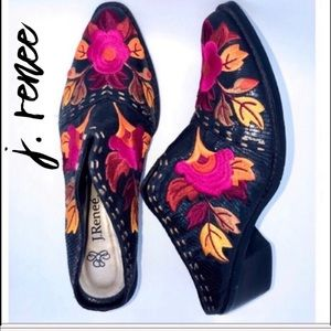 J. Renee Embroidered Hot Pink Black Yellow Mules 7
